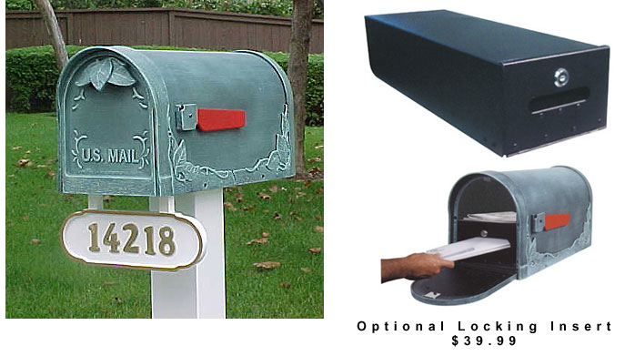 post mount non lockingor optional lockingfloral leaf mailboxes - Decorative Mailboxes